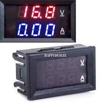 rosso blu LED DC 0-100V 10A doppio digitale voltometro amperometro pannello HD23
