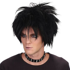 80'S SPIKEY ROCK STAR WIG BLACK SHORT WIG MEN'S FANCY DRESS ACCESSORY