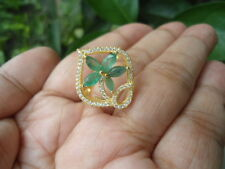 NATURAL EMERALD & Sparkling CZ Stone FLOWER Sterling 925 Silver RING Size 7.25