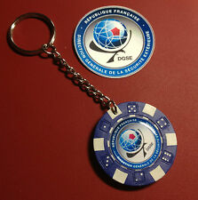 DGSE ( French Secret Police  Agency) POKER CHIP KEY RING + FREE PHONE STICKER