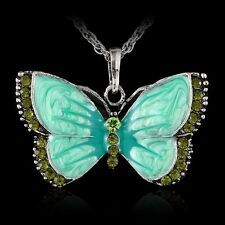 New Women Jewelry Enamel Butterfly Crystal Silver Pendant Necklace Fashion Chain