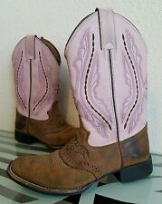 Justin BAY WESTERNER WESTERN BOOTS Chocolate/Pink Girls Youth Size 1