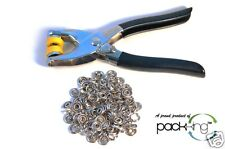 "SNAP FASTENER PLIERS TOOL KIT 108 SNAP PIECES 27 COMPLETE SETS 3/8"" OD NICKEL"