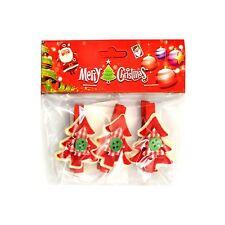 3pcs Christmas Wooden Peg Mini Tree Shape Clips Colourful Christmas Decorations