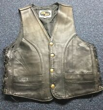 Motorcycle Clothing Co. Leather Vest Black Size 44