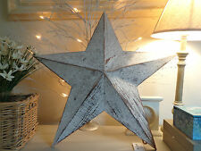 STAR WOODEN SHABBY LARGE CHIC PAINTED DISTRESSED STAR DECORATION...Lovely item!!