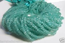 """13"""" strand aqua blue CHALCEDONY faceted gem stone rondelle beads 3.5mm - 4mm"""