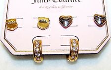 NWT 3 Pair PIERCED Earrings JUICY COUTURE Gold HEARTS & STARS, Silver PINK LIPS