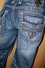 100 NEW Men's Rock Revival Thick Stitch Buckle BKE Jeans RICKY Straight 44x36 XL
