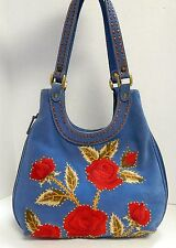 Isabella Fiore Blue Suede Leather Jeweled Embroidered Roses Hobo Shoulder Bag