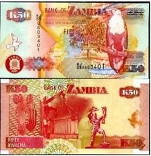 ZAMBIA 50 KAWCHA BEAUTIFUL NOTE UNC  # 75