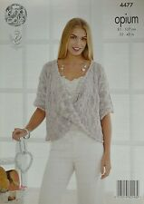 KNITTING PATTERN Womens Short Sleeve Twisted Front Jumper Opium 4477 King Cole