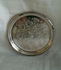 VINTAGE FALSTAFF SILVER PLATED PIN DISH / TRAY ETCHED PATTERN TABLEWARE