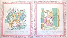 "LOT OF 2 BEATRIX  POTTER PETER RABBIT COTTON  FABRIC PANELS 12.5""  X 10.5"" PINK"