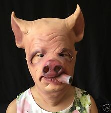 Funny Smooking Pig Head Latex Mask Halloween Party Cosplay Prop