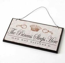 The Princess Sleeps Here Vintage Shabby Chic Wall Sign - Door Hanging Plaque