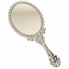 Vintage Antique Style Beauty Cosmetic Makeup Vanity HandHeld Mirror Small Silver
