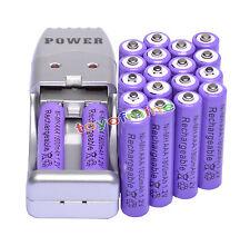 20X Batería recargable NiMH AAA 3A 1800mah 1.2V púrpura + Cargador USB