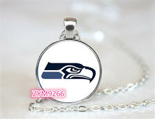 Seattle Seahawks NFL Football Chain Pendant Glass Cabochon Photo necklace