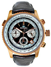 Rotary GS00101/04 Black Dial Black Leather Strap Chronograph Men's Watch