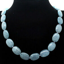 """13x18mm Natural Blue Aquamarine Gemstone Oval loose Beads Necklace 18"""" AAA"""