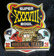 SUPER BOWL 38 ~ PATRIOTS PANTHERS Final Score LAPEL PIN Willabee Ward SB XXXVIII