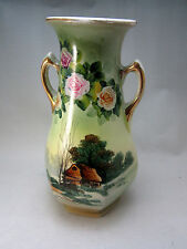 Royal Nippon Two Handle Vase Nishiki Hand Painted  Cabin Landscape Antique