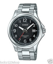 MTP-E126D-1A Black Solar Casio Stainless Steel Men's Watch 50M Date Display New