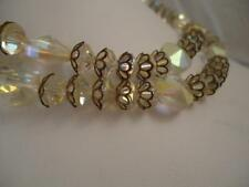 Vtg Clear Glass faceted Iridescent double 2 strand necklace Rhinestone Carnival
