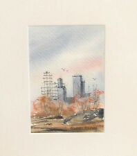 STANLEY BRODEY listed SMALL WATERCOLOR OF NEW YORK CITY SKYLINE