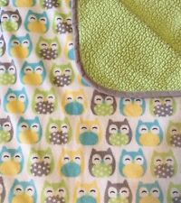 """Carters Owls Blue Green Gray Yellow Sherpa Baby Blanket Dots 40x30"""" Cozy"""