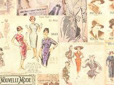 Nostalgie Stoffe Mode Kleider Patchworkstoffe Antike Bilder Frauen 30x1,50 BW