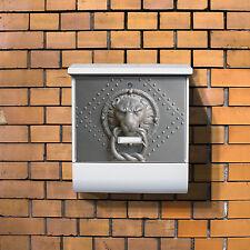 Briefkasten Burg Wächter Zeitungsfach weiß Motivbriefkasten Eisentor Postkästen
