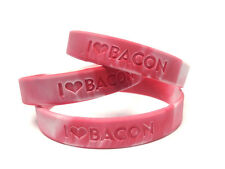 5 PACK- BACON LOVE WRISTBAND -I HEART BACON- RUBBER WRIST BAND SILICONE BRACELET