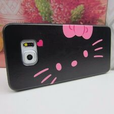 Hello Kitty #BP Rubber+Leather Cover Case for Samsung Galaxy S6 Edge + Plus