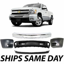 NEW Complete - Steel Front Bumper End Cap Kit For 2007-2013 Chevy Silverado 1500