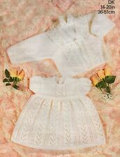 """KNITTING PATTERN TINY BABY OR DOLLS CLOTHES DRESS & JACKET 14 - 20"""""""