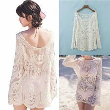 Women's Bathing Suit Lace Crochet Bikini Swimwear Cover Up Beach Mini Top Dress