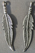 FUN ANTIQUE SILVER METAL FEATHER DANGLE CHARM 42MM BEADS LEAD & NICKEL FREE (2)