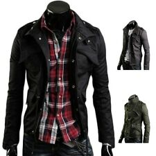 Men's Korean Casual Slim Fit Zip Coat black Hoodie, biker Jacket, L