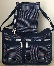 NWT LeSportsac Deluxe crossbody bag Purse zig zag stripes navy blue pink white