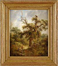 Bild Öl Landschaft Rastender Wanderer Ölbild 19. Jhdt. Ölgemälde