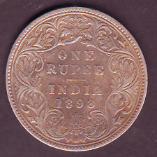 Victoria Empress-1 Rupee 1898 Silver B Inc use on top Flower Scare Coin #S141
