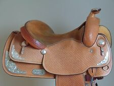 "CRATES 15-1/2""~16"" Hand Made Silver Western Show Saddle~LIGHT Oil~SUPER Cond~USA"