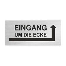 Edelstahl Briefkastenschild EINGANG UM DIE ECKE (Pfeil rechts) 80 x 35 mm (ZB8)