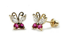 14K Yellow Gold July Birthstone Butterfly Screwback Baby Earrings for Kids