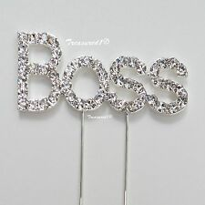 "# ""Boss"" Cake Pick Decoration Silver Metal Topper Clear Rhinestone Diamante GEMS"