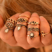 10x/Set Rings Woman Retro Knuckle Finger Ethnic Tribal Hippie Stone Joint #6-10