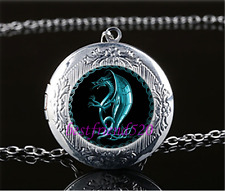 Blue Celtic Dragon Cabochon Glass Tibet Silver Locket Pendant Necklace#O34