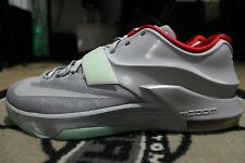 New Nike KD 7 NikeiD Yeezy Platinum Gray Red Green Size 13.5 GLOW IN THE DARK